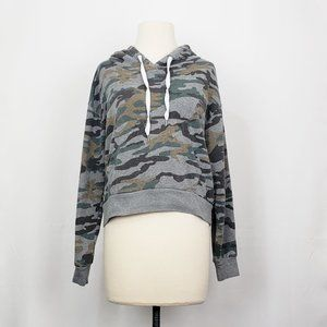Forever 21 Gray Camo Print Cropped Hooded Top